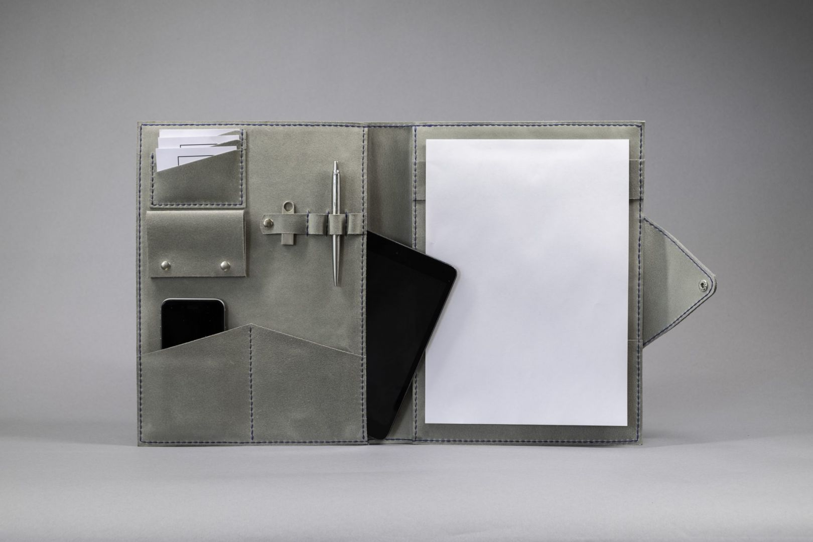gray folio with ipad pocket