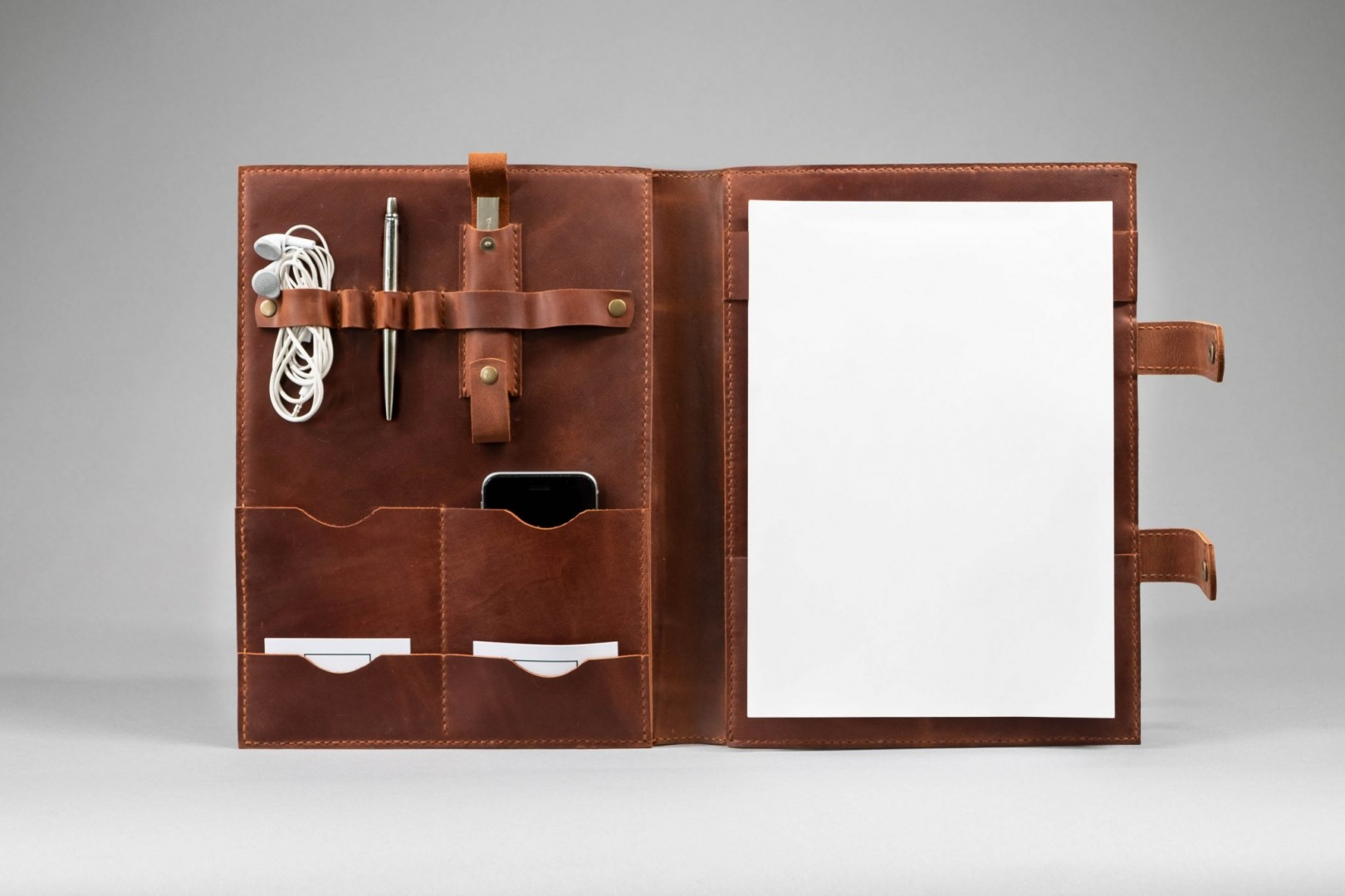 cognac leather business folder