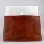 cognac leather macbook sleeve