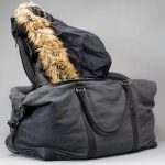 huge leather and canvas duffel bag
