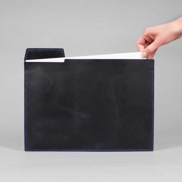 blue leather paper file