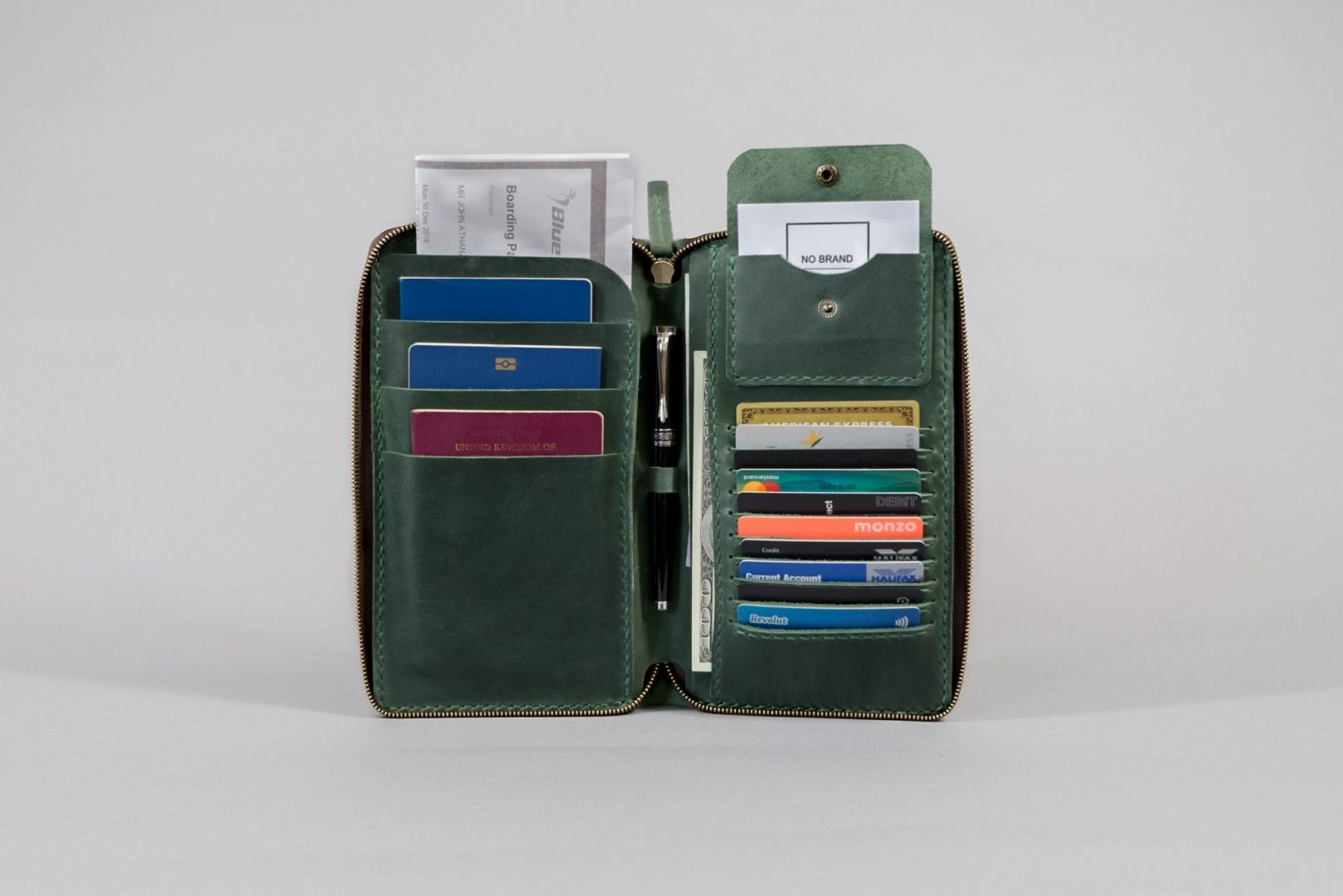 zip up three passport holder
