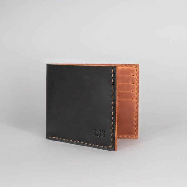 black and cognac leather wallet