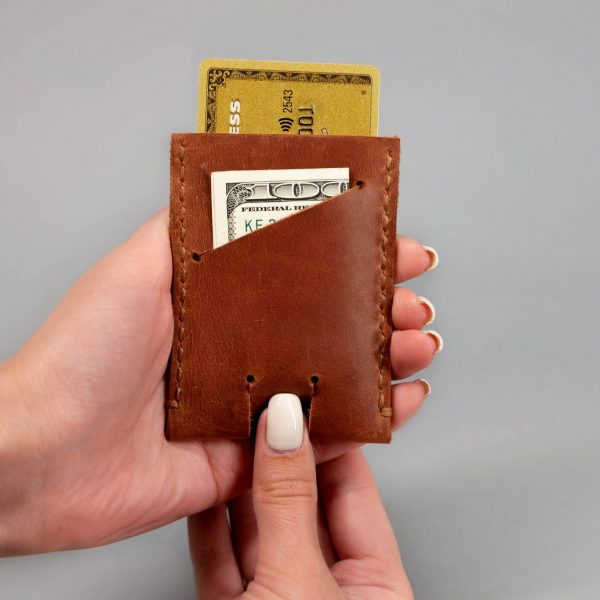 leather push up wallet